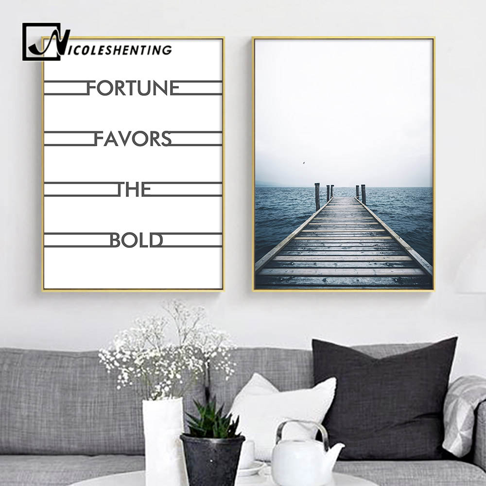 Ocean Dock Sea Landscape Wall Art Canvas Poster Nordic Minimalist Print  Painting Wall Picture For Living