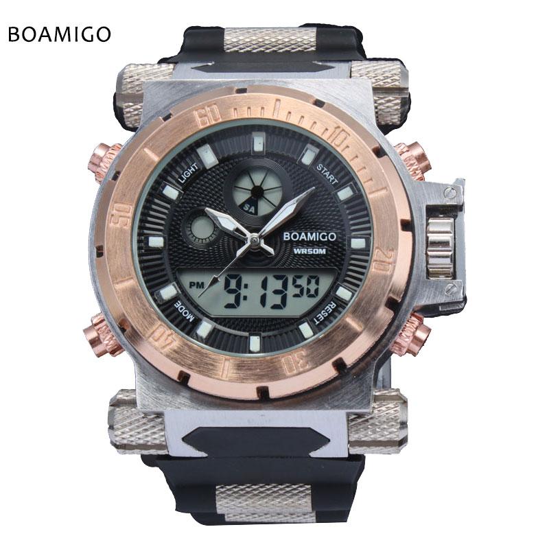 Prix pour 2017 de luxe boamigo marque hommes militaire montres de sport dual time quartz numérique montre en caoutchouc bande montres relogio masculino