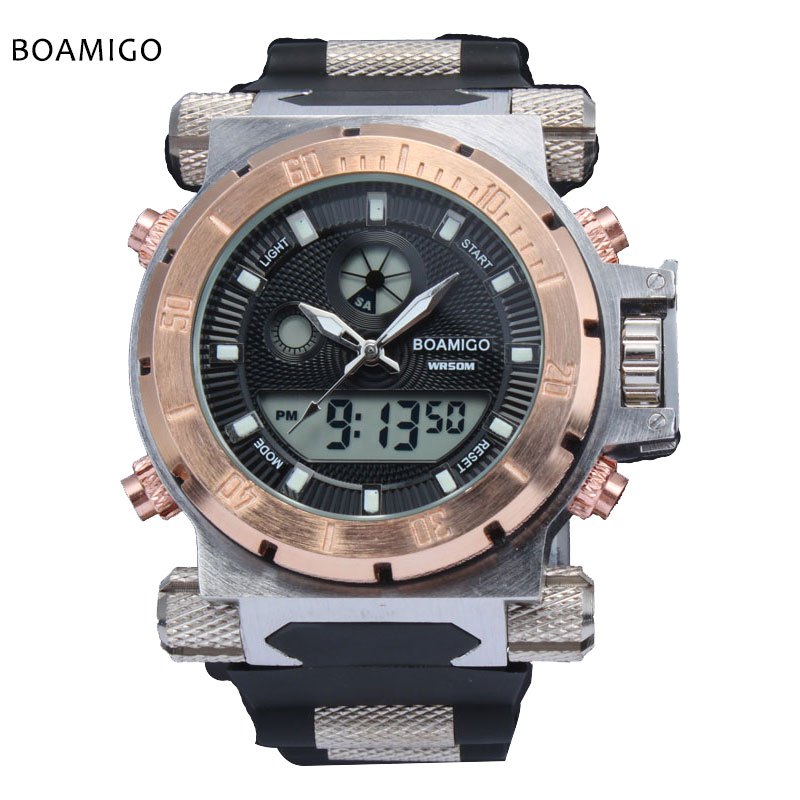 2017 luxury BOAMIGO brand Men military sports watches Dual Time Quartz Digital Watch rubber band wristwatches