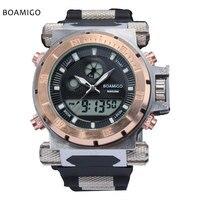 Super Luxury BOAMIGO Brand Men Military Sports Watches Dual Time Quartz Digital Watch Rubber Band