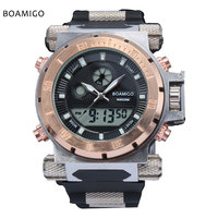 Super Luxury BOAMIGO Brand Men Military Sports Watches Dual Time Quartz Digital Watch Rubber Band