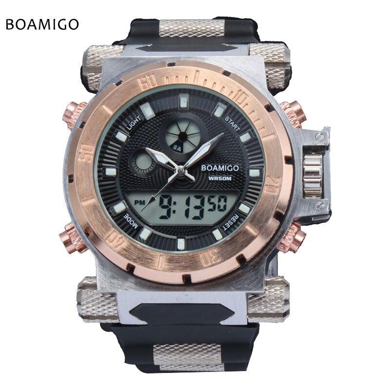 Di lusso BOAMIGO di marca Degli Uomini di sport militare orologi Dual Time Quarzo Digitale analogico cinturino in gomma orologio da polso relogio masculino