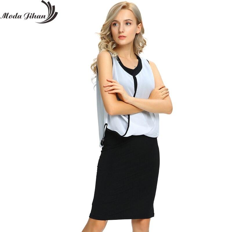 Moda Jihan женские летние платье тянется без рукавов Дамы рабочая одежда из двух частей наряды из органической кожи черное платье длиной до коле...