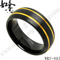 Free Shipping  New Pattern Black and Yellow gold Brush Tungsten Ring for men Fashion Jewelry Ring 8mm