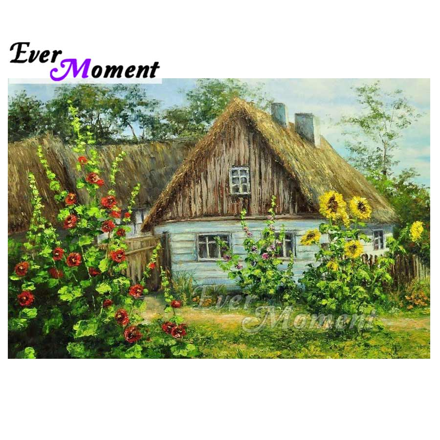 Ever Moment Diamond Painting House Green Nature Full Square Drill Diamond Embroidery Home Decoration 5D DIY Rhinestone S2F046