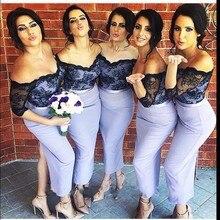 Weg von Der Schulter ZAHY Halbarm Brautjungfer Kleid Tee-länge V-ausschnitt Hochzeit Kleid 2016 Split Side Satin Mantel