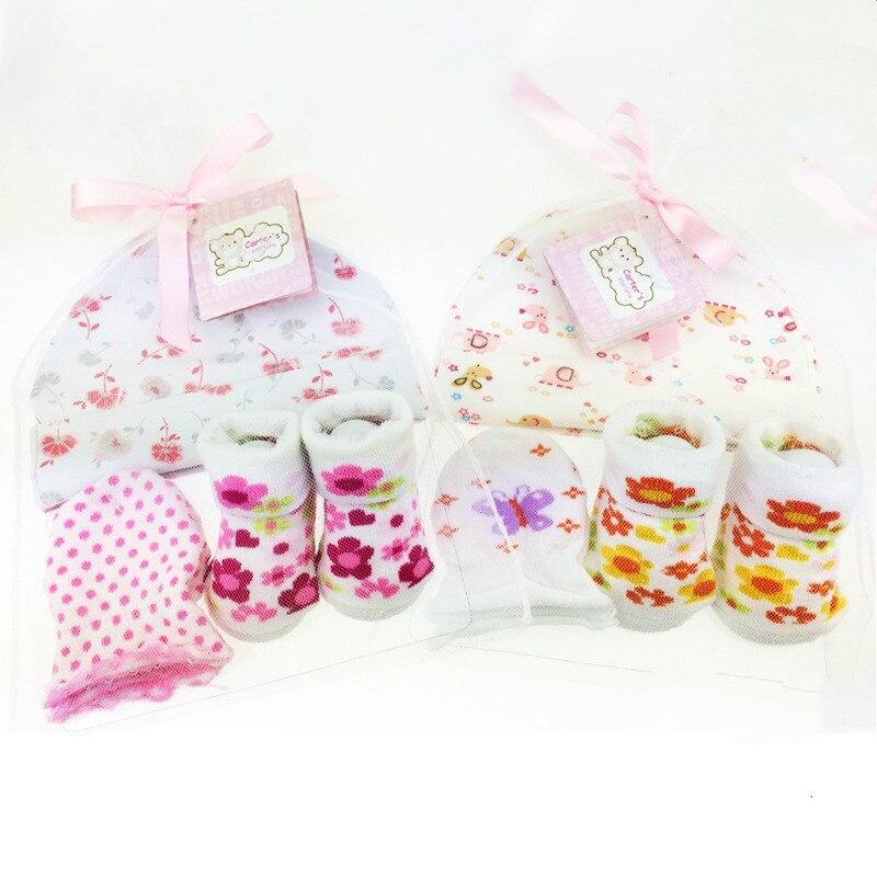 1 Bag Baby Socks + Anti-scratch Gloves +Hat Set Cute Cartoon Baby Hat Set Newborn Baby Girls Boys 100 Days/1 Month Party Gift Baby & Kids