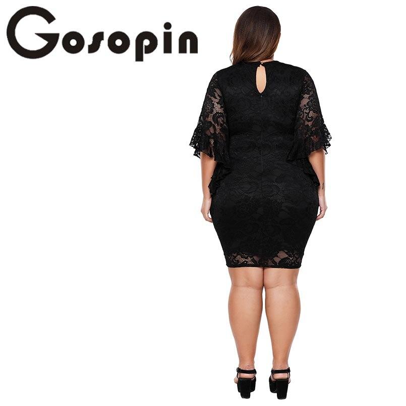 52365a7f64 Comprar Gosopin de encaje Plus tamaño vestido rosa vestido de verano de  Midi 2018 Bengala campanas Bodycon tamaños grandes Club fiesta vestido de  oficina ...