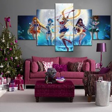 5 Panel HD Print Painting Sailor Moon Anime Girl Cuadros Landscape Canvas Wall Art Home Decor For Living Room Picture