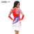 Kaigenina nova moda venda quente mulheres flor natural simples pano de impressão o-neck mid-calf chiffon dress 1181