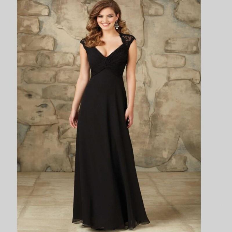 Long chiffon black lace bridesmaid dresses maternity for Plus size maternity wedding dresses cheap