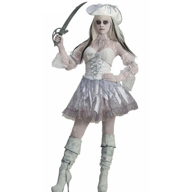 Sexy ghost cosplay costume white pirate devil halloween costumes for women  white ghost cosplay scary halloween dress 40072 cc99cbf22