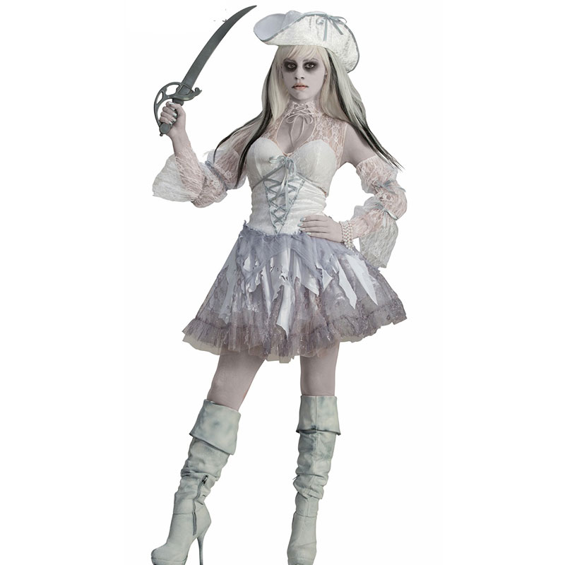 sexy ghost cosplay costume white pirate devil halloween costumes for women white ghost cosplay scary halloween - Scary Halloween Costumes Women
