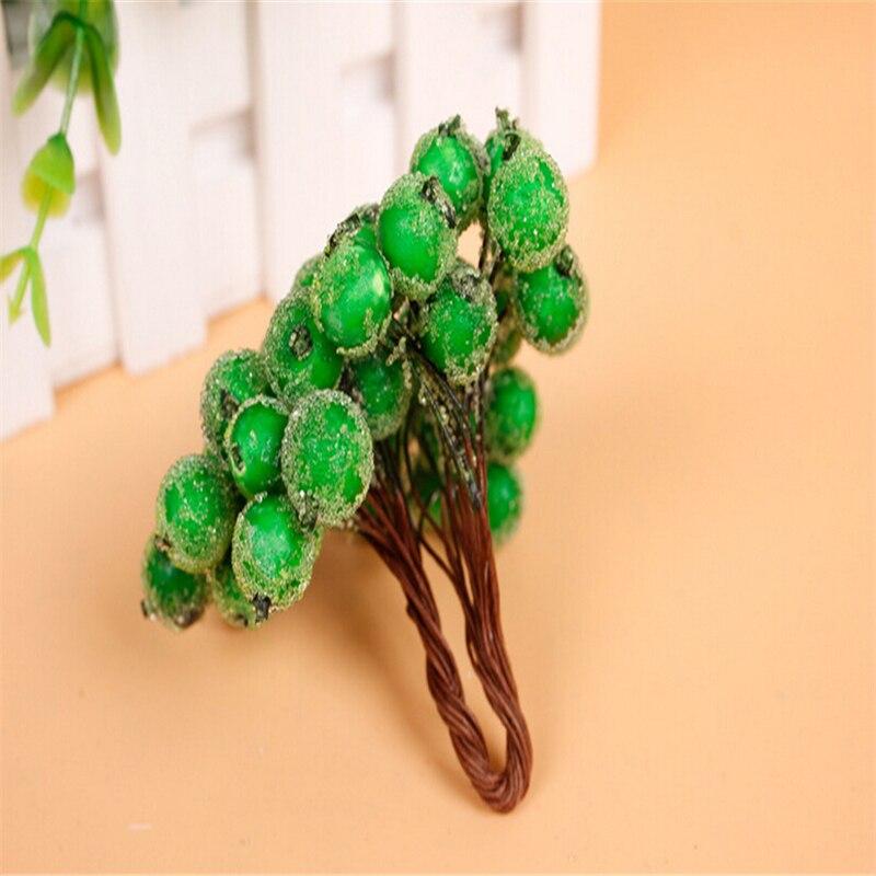 Hot Sale 100pcs/lot Mini Plastic Frozen artificial Berry Bouquet flower for home Garden wedding Car decoration crafts supplies