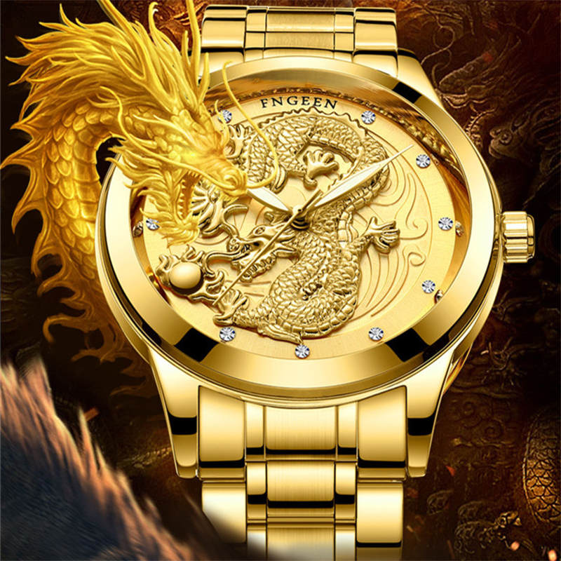 Dragon Gold Watch män klockor mode rostfritt stål Armbandsur 3D - Herrklockor - Foto 1