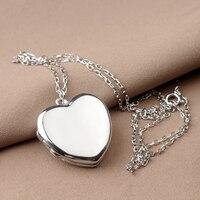 Genuína de Prata Esterlina 925 Colar da Forma Do Coração Foto Medalhão Quadro Pingente Para Os Amantes Das Mulheres Presente do Dia Dos Namorados Livre Gravura