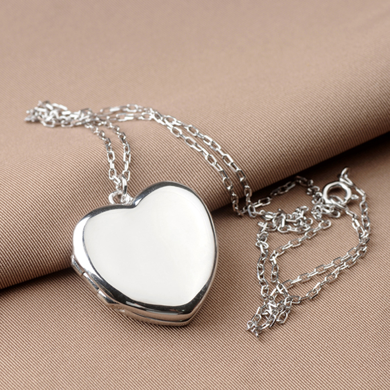 Genuine Sterling Silver 925 Heart Shape Photo Frame Locket Pendant Necklace For Women Lovers Valentine's Day Gift Free Engraving vintage heart shape locket necklace for women