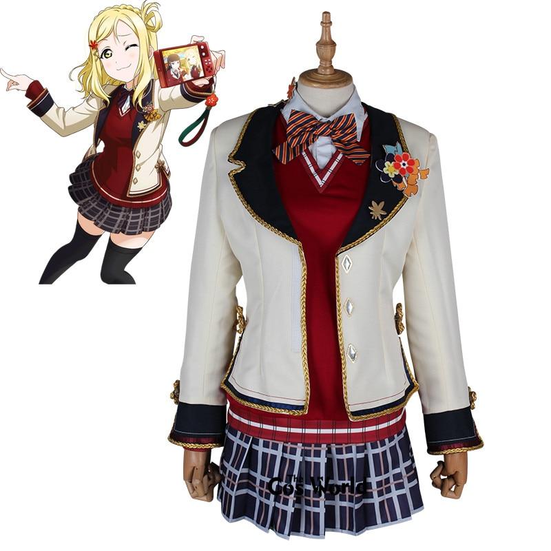 Love Live Soleil Aqours Ohara Mari Rouge Feuille D'érable Uniforme Scolaire Chemise Gilet Manteau Robe Outfit Anime Cosplay Costumes