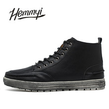 Hemmyi Autumn New Men's Boots Pure Color Classic Retro Male Boots Prevent Slippery Wear-resisting Casual Men Shoes Black