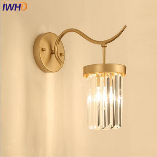 IWHD Post Modern LED Wall Lamp Crystal Wall Lights Simple Light Bedroom Fixtures For Home Lighting Bedside Sconce Luminaire modern glass led wall lamp bathroom light simple wall sconce for bar cafe indoor home lighting bedside lights luminaire