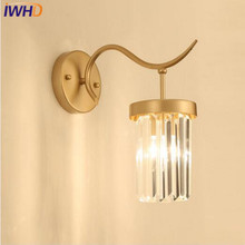 IWHD Post Modern LED Wall Lamp Crystal Wall Lights Simple Light Bedroom Fixtures For Home Lighting Bedside Sconce Luminaire lustre wall sconce modern led crystal wall light lamp with 2 lights for home lighting stainless steel plating