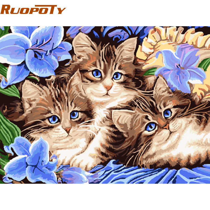 RUOPOTY Cats Animals Diy Digital Painting By Numbers Modern Wall Art Handpainted Oil Painting Unique Gift diy frame 40x50cm