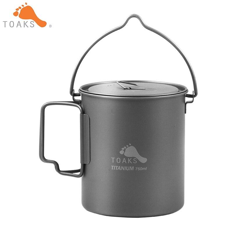 TOAKS Titanium Pot Hanging Pot Outdoor Camping Hanging Pot Cooking Pots Folding Handle Ti Cover 750ml