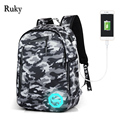 New Design USB Charging Men's Backpacks Male Casual Luminous Mochila Teenagers Student School Bags Business Laptop Computer Bag
