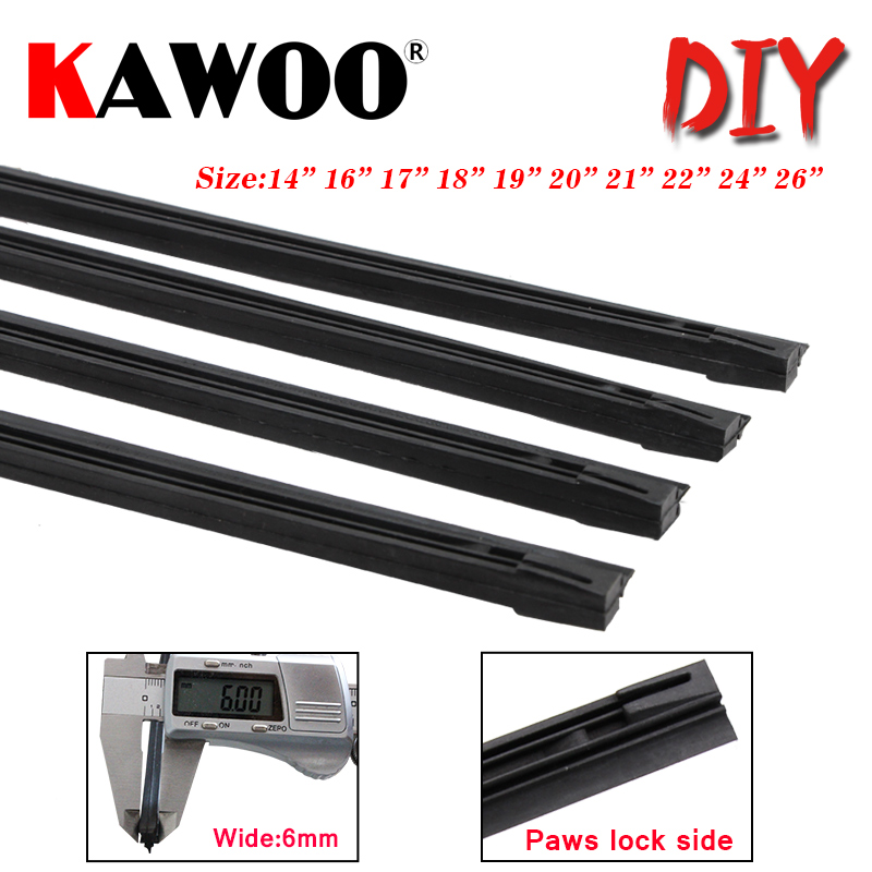 "KAWOO Car windscreen Wiper Blade Insert Natural Rubber Strip 6mm (Refill) 14""16""17""18""19""20""21""22""24""26"" 1pcs auto Accessories(China)"
