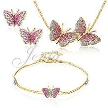 Jenia real cristalino austríaco plateado oro de la mariposa de la joyería pendiente de la pulsera y collar set xs207