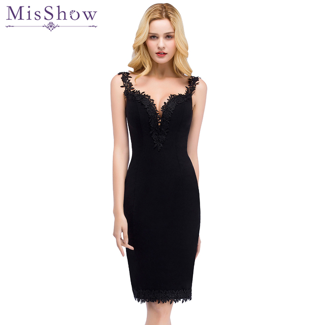 f3004fe3a21a Black Short Satin Cocktail Dress 2019 Women Knee Length semi Formal Gown  Sexy V Neck Cocktail
