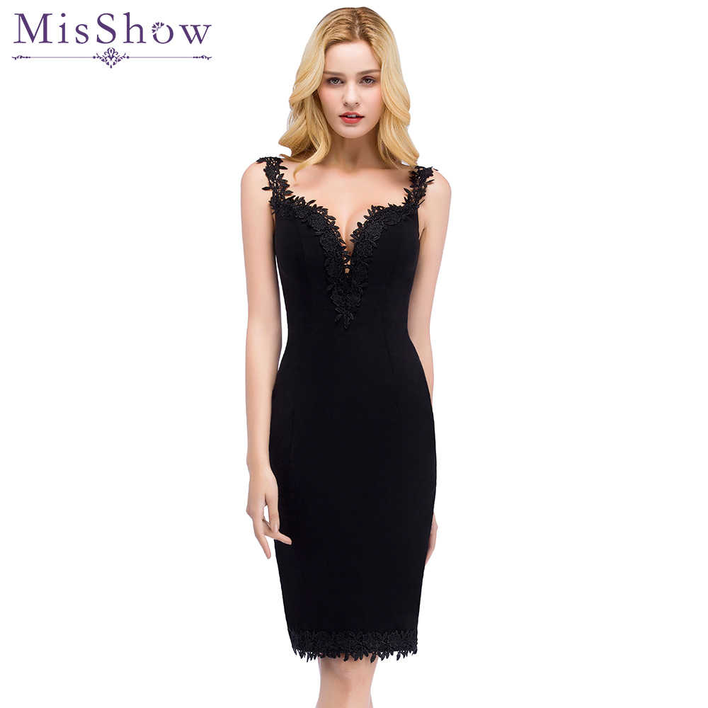 5dd9ca75ddb Detail Feedback Questions about Black Short Satin Cocktail Dress 2019 Women  Knee Length semi Formal Gown Sexy V Neck Cocktail Party Dresses Vestido  Coquetel ...