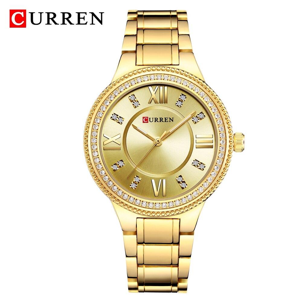 CURREN Luxury Brand Women's Watches Fashion Rhinestone Crystal Quartz Analog Ladies Wrist Watch Dress Women Clock Montre Femme