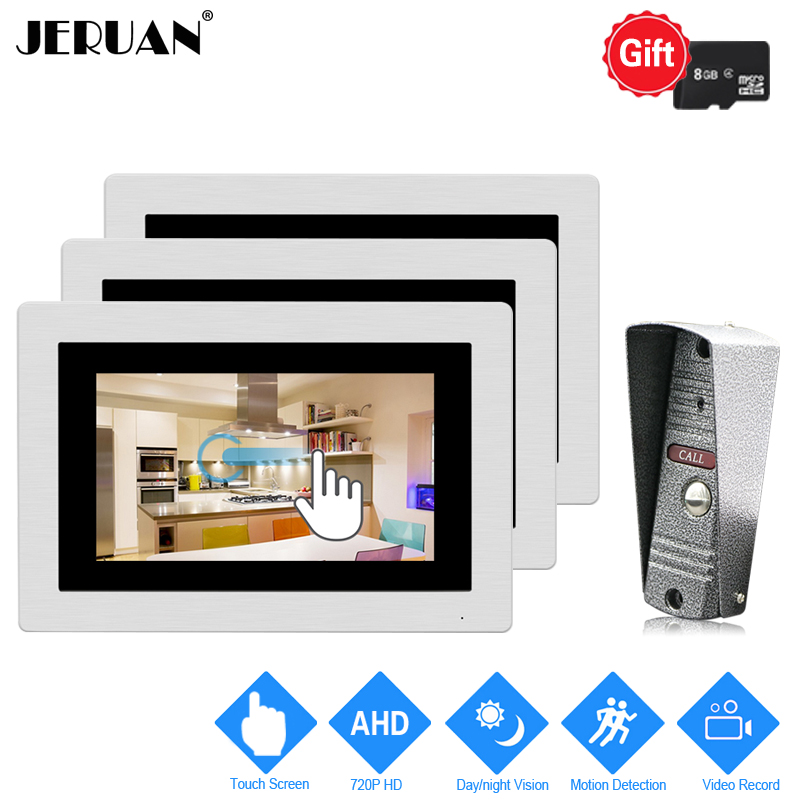 JERUAN 1.0MP 720P AHD Motion Detection 7`` Touch Screen Video DoorPhone Intercom System 3 Record Monitors + HD IR Mini Camera