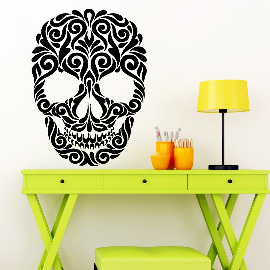 Flower Skeleton Design Wall Decal Happy Halloween Wonky Wall Art ...