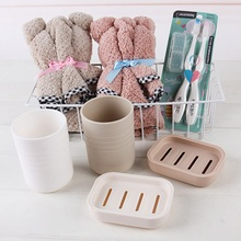 HOT Couple Bear Washu0026Bath Suit Of 7 Set Towel + Toothbrush + Mug+ Soap Box  Holder Travel Plastic Bathroom Set