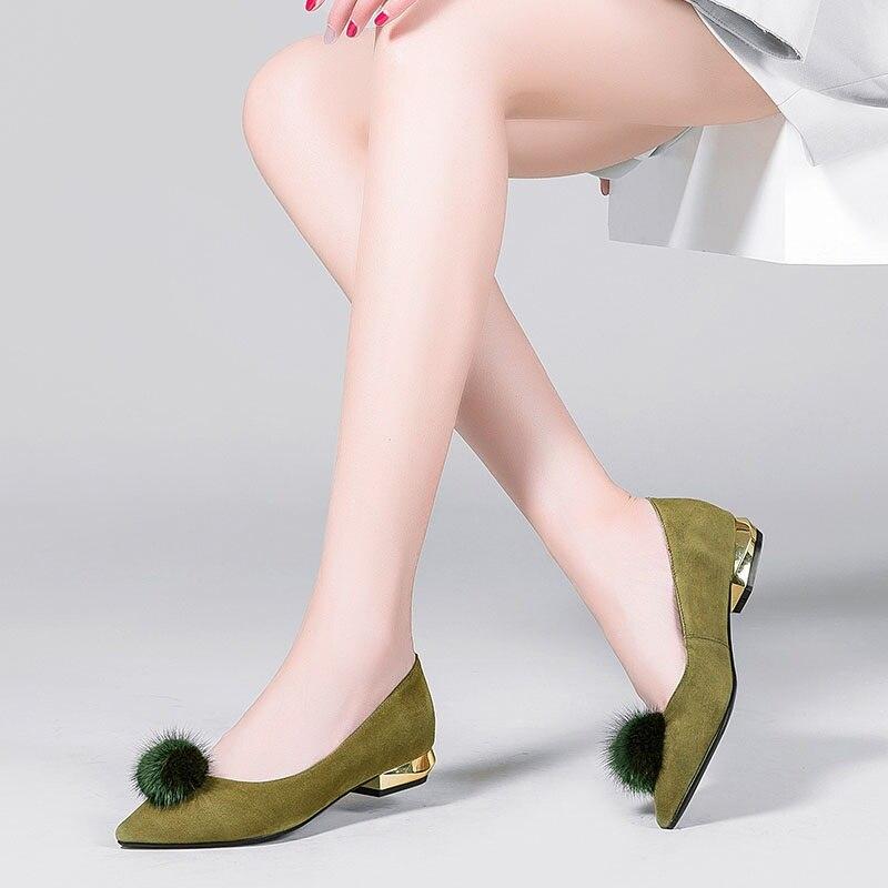 Bas Pompes Pour Black Zvq De Mode Printemps Partie Pointu Fourrure Supérieure Étrange Femme Filles green Talons Marque Chaussures Femmes Bout Style Automne Qualité Pkw8On0