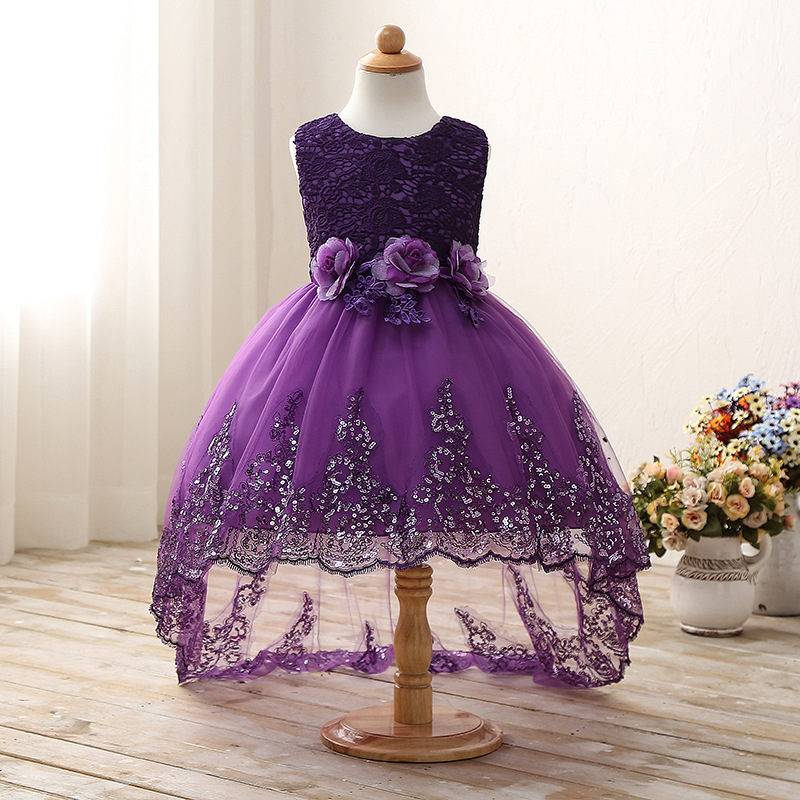 Baby Girls Princess Flower Dress Kids Wedding Gowns Prom Party Dresses Children Bow Sleeveless Trailing Lace Tulle White Dress
