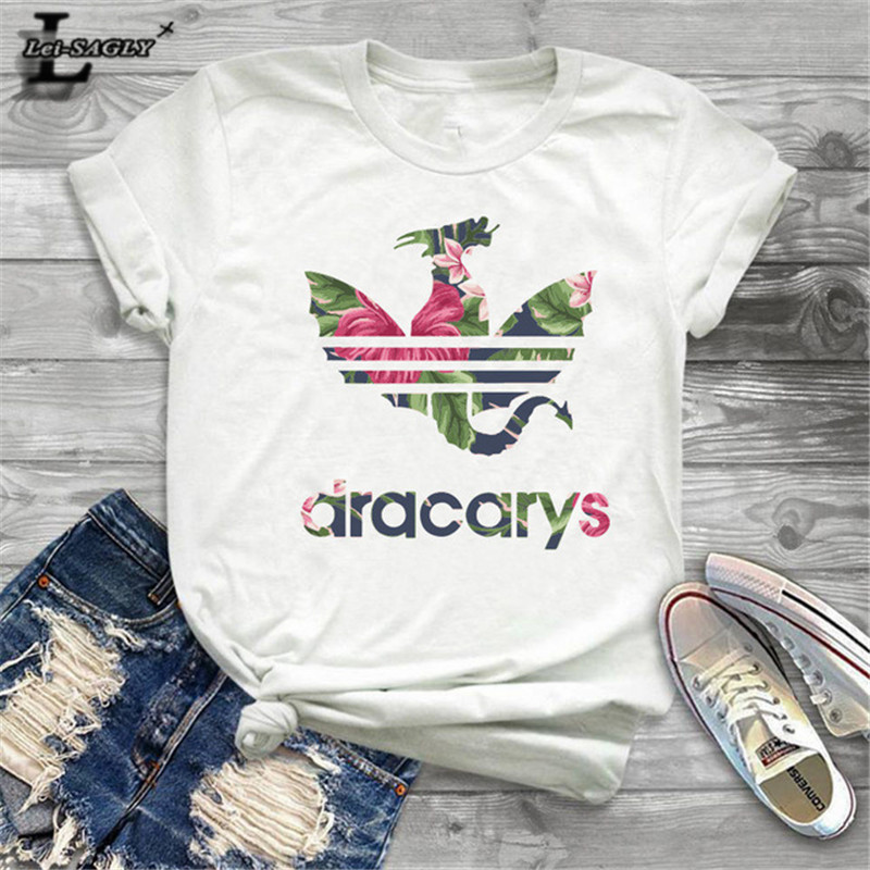 Lei SAGLY Game of Throne Women Summer   T     Shirt   Female Dragon Print White Casual Tshirts Streetwear Homme Super Soft   T  -  shirts