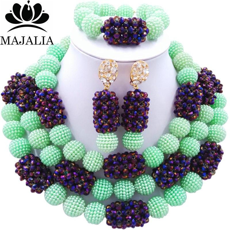 все цены на Majalia Fashion Charming Nigerian Wedding African Jewelry Set Green Crystal Necklace Bride Jewelry Sets 3SZ048 онлайн