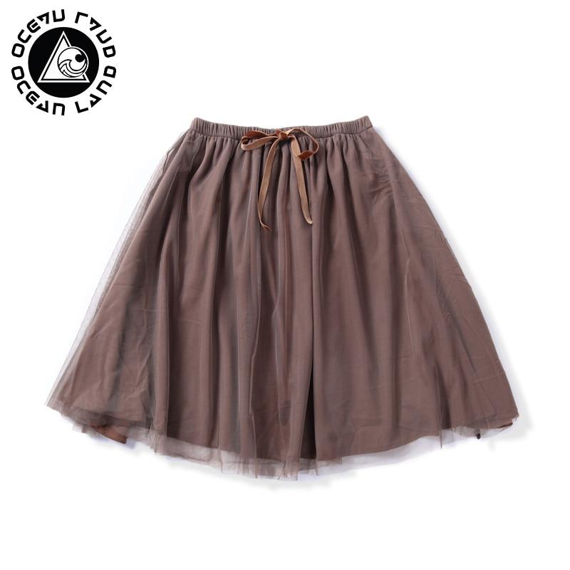 OCEAN LAND Summer Spring Women Lace Up Soild Skirt Female Pleated Ruffles Party Skirt