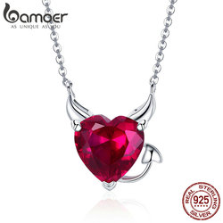 BAMOER New Collection 100% 925 Sterling Silver Devil Wings Red CZ Necklaces Pendant For Women Fashion Silver Jewelry SCN286