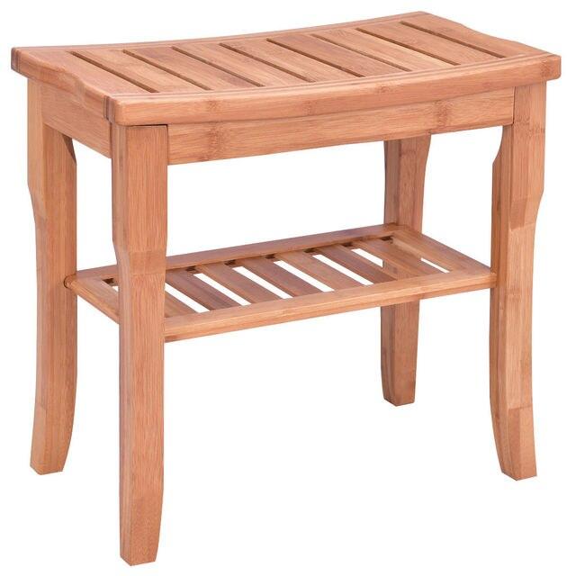 Tabouret Bois Douche giantex bambou chaise de douche siège banc moderne bois salle de