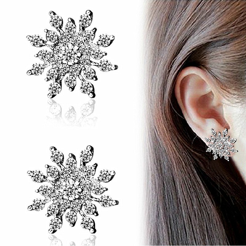 ES660 Pendientes Fashion Jewelry Full Crystal Snowflake Stud Earrings For Women Brincos Snow Flower 2018 High Quality