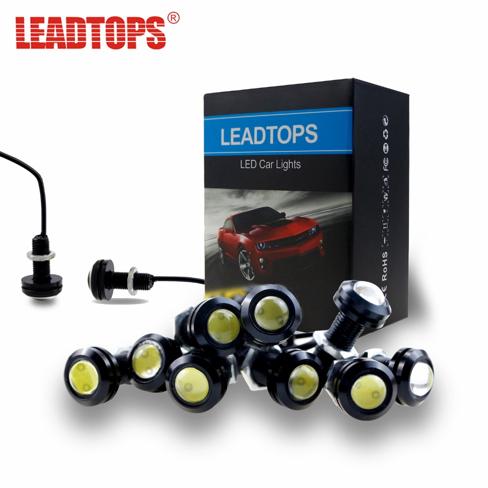 LEADTOPS 10pcs DRL 23mm Eagle Eye Daytime Running Light fog Lamp LED Car Work Lights Source 12V Car Styling CD (Black shell) 1 pair metal shell eagle eye hawkeye 6 led car white drl daytime running light driving fog daylight day safety lamp waterproof