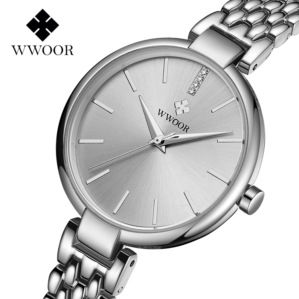 WWOOR Women Watches Brand Luxury Ladies Ultra-thin Watch Stainless Steel Belt Waterproof Clock Quartz Watch Reloj Mujer Free boxWWOOR Women Watches Brand Luxury Ladies Ultra-thin Watch Stainless Steel Belt Waterproof Clock Quartz Watch Reloj Mujer Free box