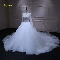Loverxu Robe De Mariee Sexy Long Sleeve Lace Wedding Dresses 2018 High Neck Beaded Pearls Vintage A Line Bridal Gown Plus Size