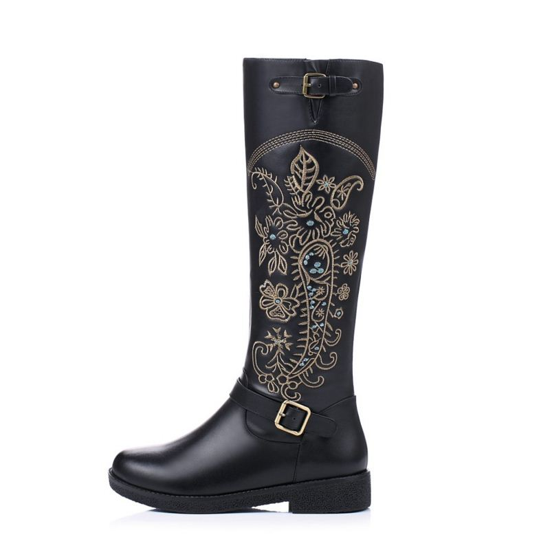 MISAKINSA Vintage Genuine Real Leather Knee Boots Winter Boot Sexy Square Heel Round Toe Zipper Women Boots Shoes Size 33-40
