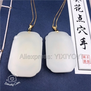 Image 5 - Natural White Hetian Jade + 18K Solid Gold Inlaid GuanYin Buddha Lucky Amulet Pendant + Free Necklace Fine Jewelry + Certificate