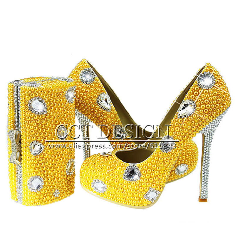 New Yellow Wedding Shoes With Pearls Handmade Sparkly Diamond High Heels Platfrom Party Evening Shoes Italian Shoes And Bag Set something red wedding shoes customized sparkly diamond red high heels platfrom party evening shoes italian shoes and bag set